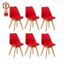 Kit 6 cadeiras eames eiffel leda saarinen design vermelho para mesa de jantar sala cozinha - LUCYHOME