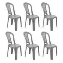 Kit 6 Cadeiras Plástica Sem Braço Atlântida Cinza Tramontina -