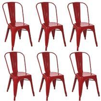 Kit 6 Cadeiras Tolix Vermelha - Gardenlife