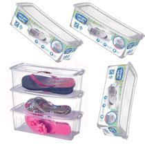 Kit 6 Caixa de Sapato Slim Transparente 1818 Organizador Sapateira Média 36x16x11,5 Cm Arthi -