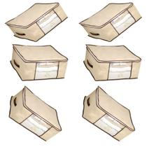 Kit 6 Caixa Organizadora Flexível Multiuso Bege com Borda Reforçada Marrom 44x44x19,5 cm Kehome -