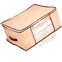 Kit 6 Caixa Organizadora Flexível Multiuso Bege com Borda Reforçada Marrom 60x45x30 cm Kehome -
