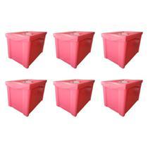 Kit 6 Caixa Organizadora Grande Com Trava 30L Rosa Sanremo -