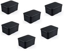 kit 6 caixa rattan organizadora 40 litros Empilhável Preta - Arqplast