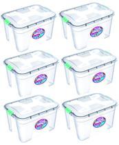 Kit 6 Caixas Organizadoras Transparente 20 Litros - Uninjet -