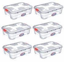 Kit 6 Caixas Organizadoras Transparente 28 Litros - Uninjet -