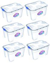Kit 6 Caixas Organizadoras Transparente 30 Litros - Uninjet -