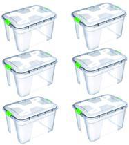 Kit 6 Caixas Organizadoras Transparente 56 Litros - Uninjet -