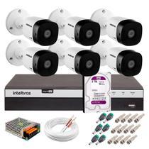 Kit 6 Câmeras de Segurança Full HD 1080p VHD 1220B IR + DVR Intelbras Full HD + HD WD Purple 2TB -
