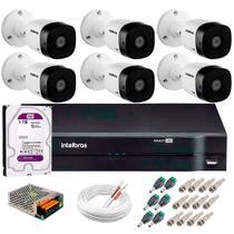 Kit 6 Câmeras de Segurança HD 720p 20mts infra VHD 1120B + DVR Intelbras Multi HD + HD WD Purple 1TB -