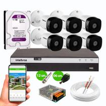 Kit 6 Câmeras de Segurança Intelbras VHD 1220 B Full HD 1080p 20m Infra 2MP DVR MHDX 3108 HD 1TB -
