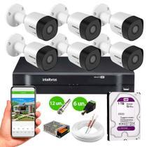 Kit 6 Câmeras de Segurança Intelbras VHD 3130 B G6 HD 720p 30m Infra METAL + DVR Intelbras + HD 1TB -