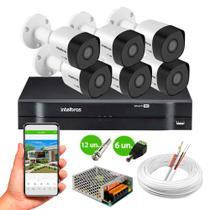 Kit 6 Câmeras de Segurança Intelbras VHD 3130 B G6 HD 720p Metal + DVR MHDX 1108 8 Canais Intelbras -