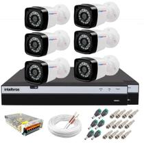 Kit 6 Câmeras Full HD 1080p 20m Infravermelho de Visão Noturna + DVR Intelbras + App Monitoramento -