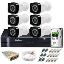 Kit 6 Câmeras Segurança HD 720p 20m Visão Noturna + DVR Intelbras + HD 1 TB + App de Monitoramento -