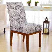Kit 6 Capa de Cadeira Elastex Luxo Mesa Sala Jantar Linda White Flower - Charme do Detalhe