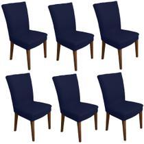 Kit 6 capas de Cadeira p Mesa Sala Jantar Azul Marin premium - Allstate