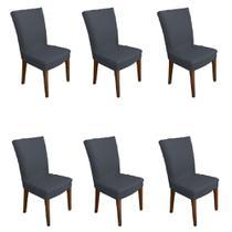 Kit 6 capas de Cadeira P/ Mesa Sala Jantar Chumbo premium - Allstate
