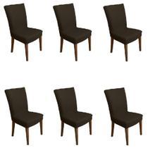 Kit 6 capas de Cadeira P/ Mesa Sala Jantar Marrom premium - Allstate