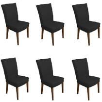 Kit 6 capas de Cadeira P/ Mesa Sala Jantar Preta premium - Allstate