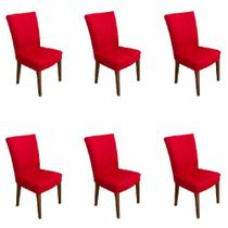 Kit 6 capas de Cadeira P/ Mesa Sala Jantar Vermelha luxo - Allstate
