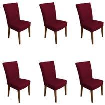 Kit 6 capas de Cadeira P/ Mesa Sala Jantar Vinho luxo - Allstate