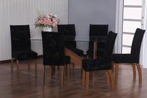 Kit 6 Capas para Cadeira de Jantar em Veludo Preto - Casahome