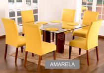 Kit 6 Capas Para Cadeira de Jantar Malha Com Elástico e Sousplat Base de Prato Cor Amarelo - Ponto a Ponto Enxovais
