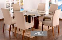 Kit 6 Capas Para Cadeira de Jantar Malha Com Elástico e Sousplat Base de Prato Cor Avelã - Ponto a Ponto Enxovais