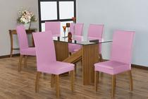 Kit 6 Capas para Cadeira de Jantar Malha Rosa - Casahome