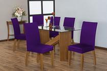 Kit 6 Capas para Cadeira de Jantar Malha Roxo - Casahome
