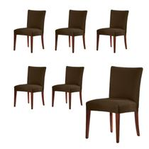 Kit 6 Capas Para Cadeira De Malha Lisa Marrom - Adoomes
