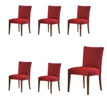 Kit 6 Capas Para Cadeira De Malha Lisa Vermelho - Adomes