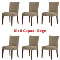 Kit 6 Capas Para Cadeira Malha Suplex Com Elástico Bege - Adomes