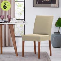 Kit 6 Capas para Cadeira Malha Suplex com Elástico Palha - Adomes