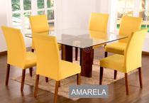 Kit 6 Capas para cadeira mesa de jantar Amarela Lisa - Empório Do Lar
