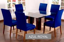 Kit 6 Capas para cadeira mesa de jantar Azul Royal Lisa - EMPÓRIO DO LAR