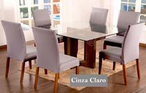 Kit 6 Capas para cadeira mesa de jantar Cinza Claro Lisa - EMPÓRIO DO LAR