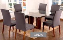 Kit 6 Capas para cadeira mesa de jantar Cinza Lisa - EMPÓRIO DO LAR