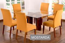 Kit 6 Capas para cadeira mesa de jantar Mostarda malha Lisa - Empório Do Lar