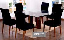 Kit 6 Capas para cadeira mesa de jantar Preto malha Lisa - EMPÓRIO DO LAR
