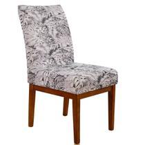 Kit 6 Capas para Cadeira Mesa Sala Jantar Malha Elastex Luxo White Flower - Charme do Detalhe