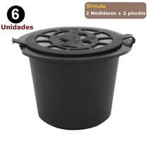 Kit 6 Cápsulas Nespresso Reutilizável Recarregável Preto + acessórios - Ilovecoffee