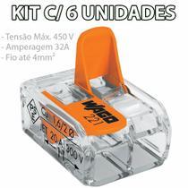 Kit 6 Conector Wago Emenda 2 Fios Mod. 221-412 -