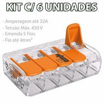 Kit 6 Conector Wago Emenda 5 Fios Mod. 221-415 -