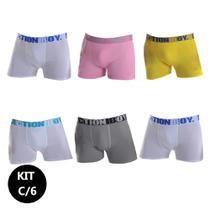 Kit 6 Cuecas Boxer Adulto Microfibra Lisa Action Boy Ref.023 -