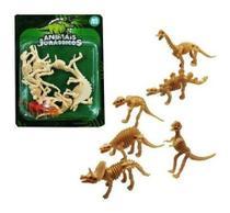 Kit 6 Dinossauro Esqueleto Miniatura Brinquedo Plástico - Ark Toys