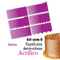 KIT 6 ESPÁTULAS DECORATIVAS PARA BOLO 15X7 CM CONFEITARIA  ES4 (7 a 12) - Confeitaria Dos Moldes