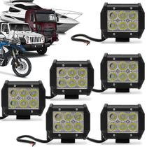 Kit 6 Faróis de Milha Quadrado Universal 6 LEDs 6000K Carro Moto Caminhão Jeep Auxiliar Neblina - Kit Prime
