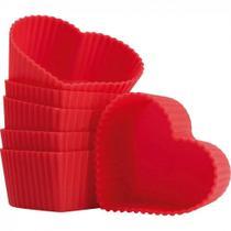 Kit 6 Forminhas Coracao de Silicone para Cupcake e Muffin Vermelha  Mor -